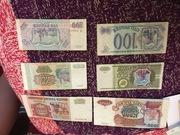 Банкноты 93 года,  100р,  500р,  5000.